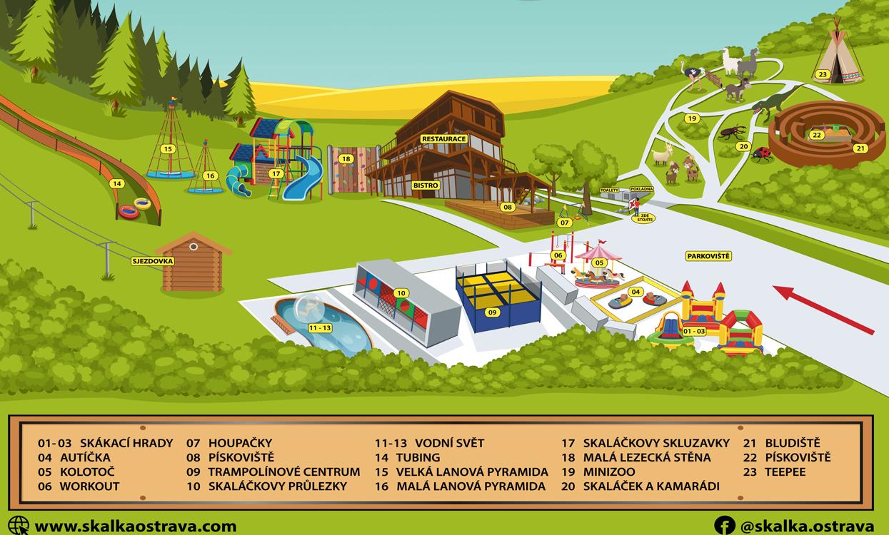 mapa areálu restaurace a atrakce pro děti Skalka family park ostrava