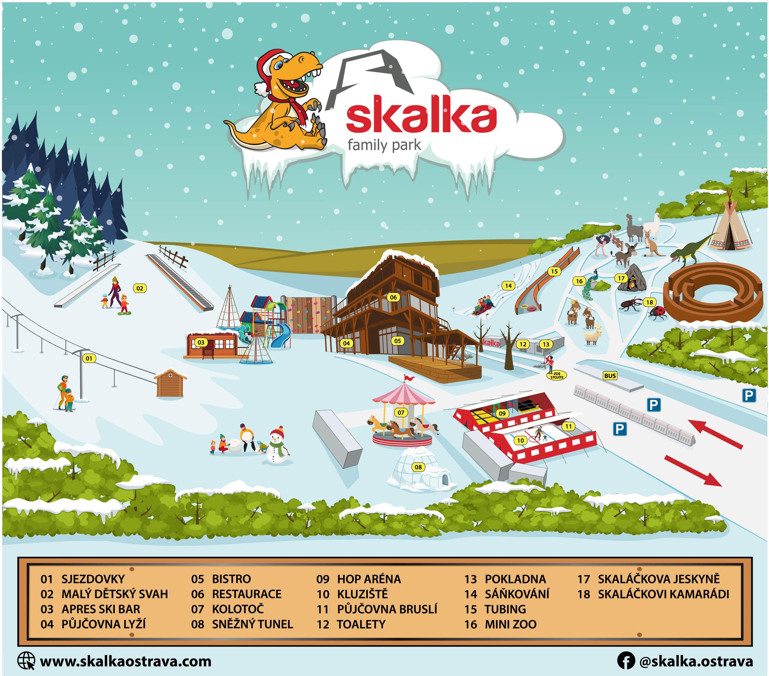 Zimní mapa - areál Skalka Family Park